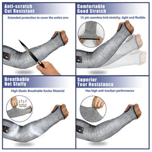 Load image into Gallery viewer, Evridwear 1 Pr/Pack Cut Resistant Sleeves for Arm Work Protection Safety in EN388 Level 5, Anti-Puncture With Thumb Hole. 1 pair/pkg. 4 sizes.-EvridWearUS