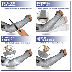 Evridwear 1 Pr/Pack Cut Resistant Sleeves for Arm Work Protection Safety in EN388 Level 5, Anti-Puncture With Thumb Hole. 1 pair/pkg. 4 sizes.-EvridWearUS