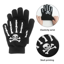 Load image into Gallery viewer, EvridWear Boys Girls Magic Stretch Gripper Gloves 3 Pair Pack Assortment, Kids Winter Warm Gloves Children (3 Pairs Skull Printing)