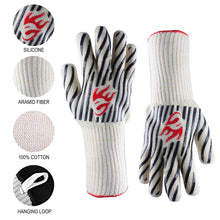 Load image into Gallery viewer, Evridwear Zebra Extreme Heat and Cut Resistant BBQ Gloves with Non-Slip Silicone Coated 2 Size