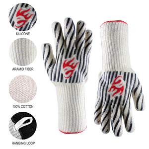 Evridwear Zebra Extreme Heat and Cut Resistant BBQ Gloves with Non-Slip Silicone Coated 2 Size