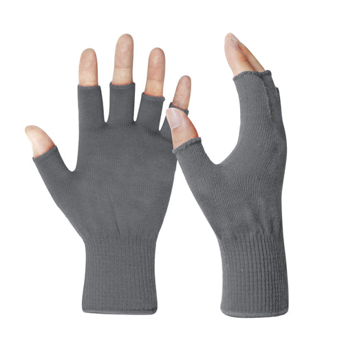 EvridWear Merino Wool Fingerless String Knit Liner Touchscreen Gloves (Gray)-EvridWearUS