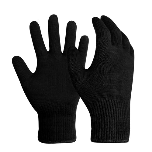 EvridWear Men Women Merino Wool String Knit Liner Warm Gloves 4 Sizes (Black)-EvridWearUS