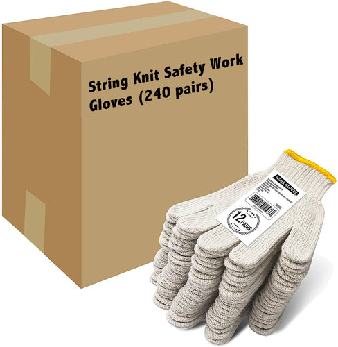 EvridWear 240 Pairs Pack Cotton Polyester String Knit Work Gloves-EvridWearUS