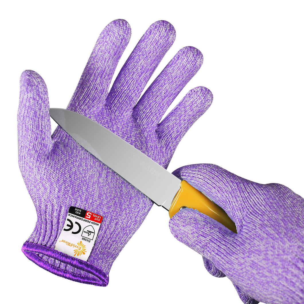 EVRIDWEAR Kid Sized Cut Resistant Work Gloves for Kitchen Use, Crafts, DIY, Garden and Yard works (Purple)-EvridWearUS