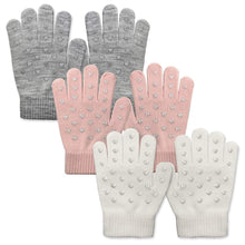 Load image into Gallery viewer, EvridWear Boys Girls Heart Print Magic Stretch Gripper Gloves 3Pairs Pack-EvridWearUS