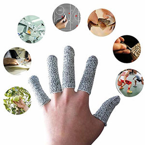 EvridWear Finger Cots Cut Resistant Protection, Glove Life Extender, Finger Sleeves, Substitute for A Full Glove, Thumb Protector, HPPE Rated (20PCS)-EvridWearUS