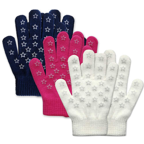 EvridWear Boys Girls Star Print Magic Stretch Gripper Gloves 3 Pairs Pack-EvridWearUS