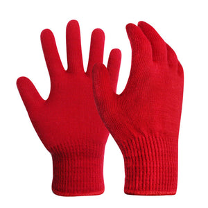 EvridWear Red Merino Wool String Knit Liner Gloves