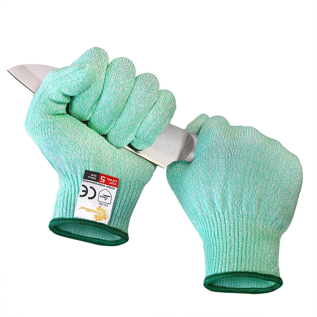 EVRIDWEAR Cut Resistant Gloves, Food Grade Level 5 Safety Protection Kitchen Cuts Gloves For cutting, Chopping, Fish Fillet, Mandolin Slicing and Yard-Work (Green)