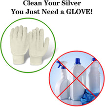 Load image into Gallery viewer, EvridWear Sterling Silver Polishing Cleaning Gloves with Terry Loop Cloth, 2 Sizes