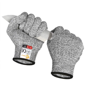 EVRIDWEAR Cut Resistant Gloves, Food Grade Level 5 Safety Protection Gloves For cutting, Chopping, Fish Fillet, Mandolin Slicing and Yard-Work (Gray)