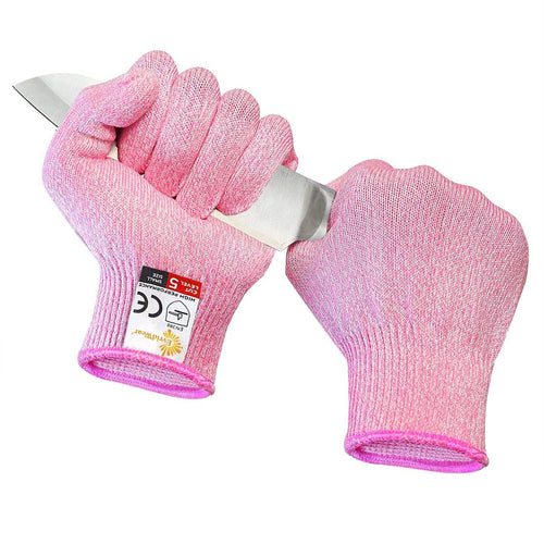 EVRIDWEAR Cut Resistant Gloves, Food Grade Level 5 Safety Protection Kitchen Cuts Yard-Work Gloves (Pink)-EvridWearUS