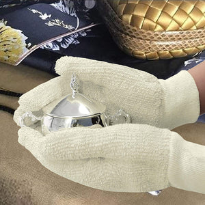 EvridWear Sterling Silver Polishing Cleaning Gloves with Terry Loop Cloth, 2 Sizes