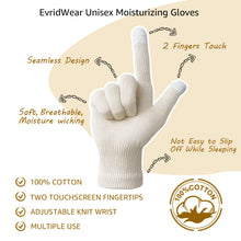 Load image into Gallery viewer, EvridWear Men Moisturizing Cotton Gloves with Touchscreen Fingertips for Eczema Dry Hands Sensitive Irritated Skin, 6 Pairs, Lightweight-EvridWearUS