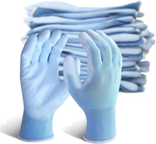 Load image into Gallery viewer, EvridWear 12 Pairs Blue Ultralight Breathable Waterproof Polyurethane Coated Safety Gloves