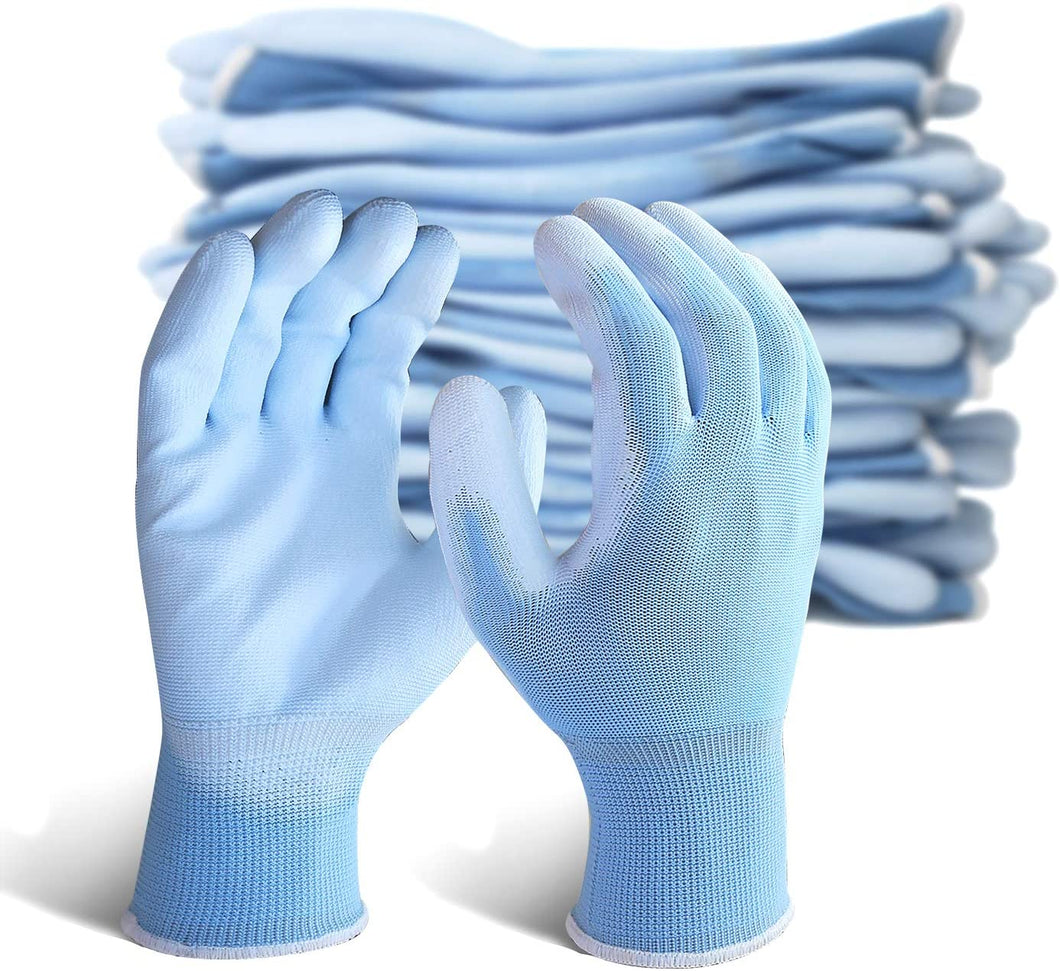 EvridWear 12 Pairs Blue Ultralight Breathable Waterproof Polyurethane Coated Safety Gloves