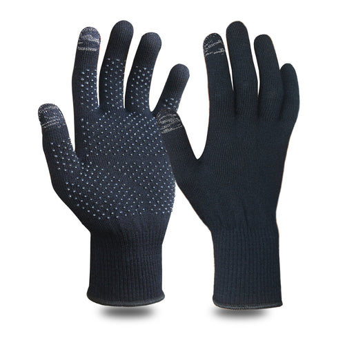 EvridWear Merino Wool Liner Gloves with Touchscreen and PVC Dotted Grips-EvridWearUS