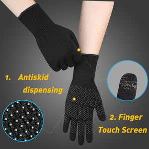 EvridWear Merino Wool Liner Gloves with Touchscreen and PVC Dotted Grips