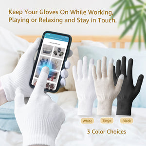 EvridWear Men Moisturizing Cotton Gloves with Touchscreen Fingertips for Eczema Dry Hands Sensitive Irritated Skin, 6 Pairs, Lightweight-EvridWearUS
