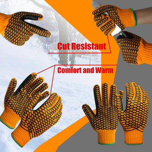 EvridWear Double Layer String Knit Work Gloves with Crisscross Honeycomb Grip Two Sides and Cozy Liner-EvridWearUS