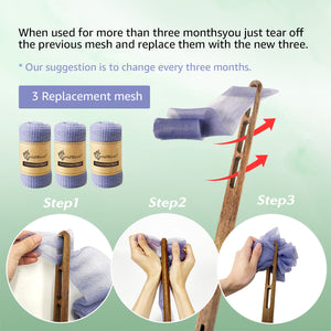 EvridWear Exfoliating Back Scrubber Heavy Duty Bath Sponge Shower Long Teak Wood Handle Replaceable Mesh Skin Disorders Smooth Body Style (Brush with Pouf)