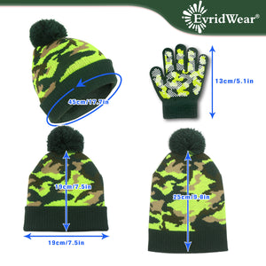 EvridWear Kids Children Boys Girls Magic Grip Winter Fall Gloves and Hat Set for Cool Cold Weather (2 Pairs Glove + 1 Hat)