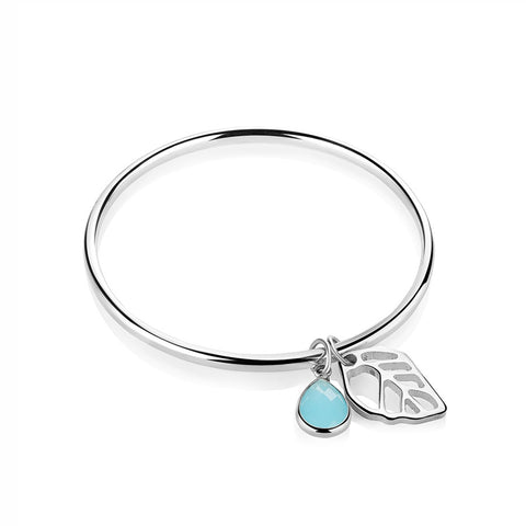 Buy Newbridge Silverware Leaf Bangle with Blue stone online - Salmons Gifts, Ballinasloe, Galway, Ireland