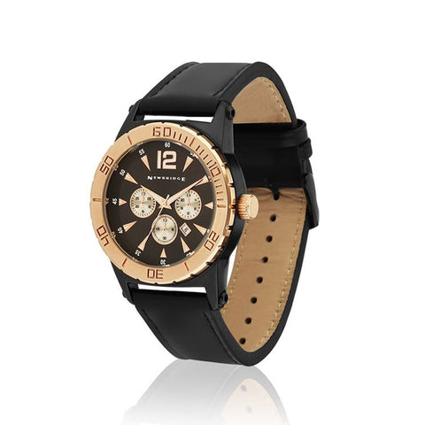 Buy Newbridge Silverware Mens Watch With Black Leather Strap online - Salmons Gifts, Ballinasloe, Galway, Ireland