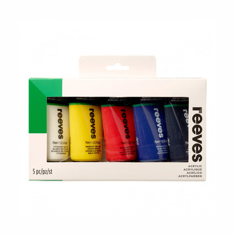 Reeves Acrylic (5 x 75ml) - Salmons Art Supplies, Ballinasloe, Galway