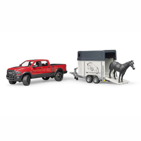 Bruder RAM 2500 Power Wagon with horse trailer and horse - Salmons Toy Store, Ballinasloe, Galway