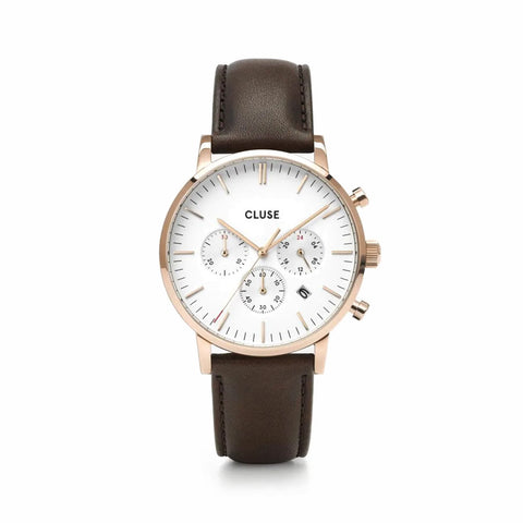 Buy Cluse Aravis Chrono Leather Brown, Rose Gold Colour watch online - Salmons Gifts, Ballinasloe, Galway, Ireland