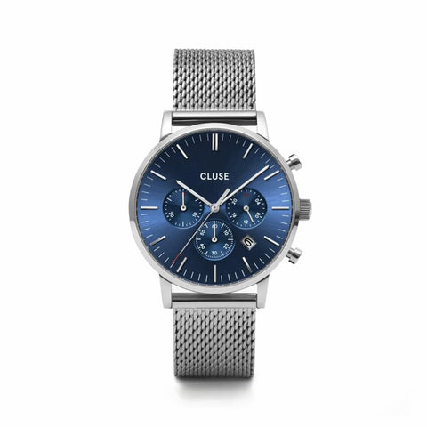 Buy Cluse Aravis Chrono Mesh Blue, Silver Colour watch online - Salmons Gifts, Ballinasloe, Galway, Ireland