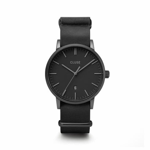 Buy Cluse Aravis Nato Leather Full Black watch online - Salmons Gifts, Ballinasloe, Galway, Ireland