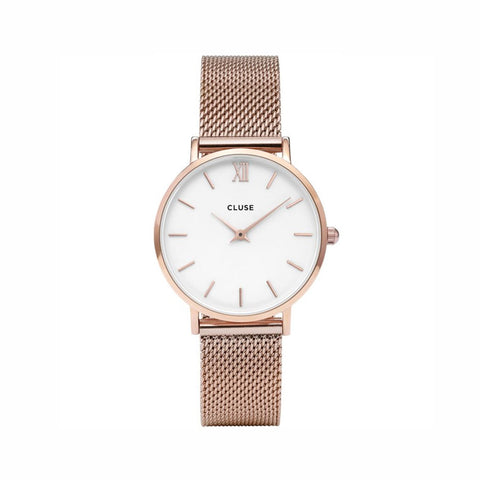 Buy Cluse Minuit Mesh White, Rose Gold Colour watch online - Salmons Gifts, Ballinasloe, Galway, Ireland