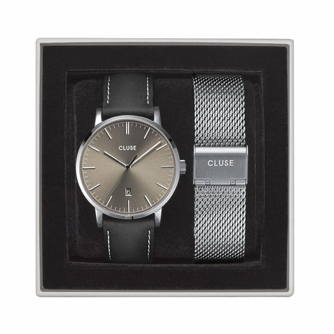 Buy Gift Box Aravis Mesh Silver Colour & Leather Strap online - Salmons Gifts, Ballinasloe, Galway, Ireland
