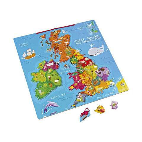 Janod Great Britain And Ireland Wooden Magnetic Map Jigsaw Puzzle, 80 Pieces - Salmons Department Store, Ballinasloe, Galway