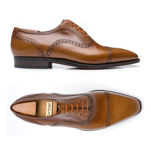 "CORTHAY Paris ""Bucy"" Handmade Cognac Leather Oxford Shoes US 8.5 NEW with Trees"
