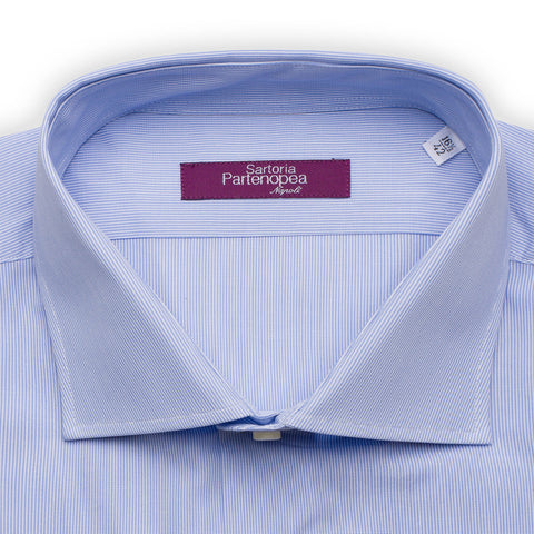 SARTORIA PARTENOPEA Blue Hairline Striped Cotton Standard Cuff Dress Shirt NEW