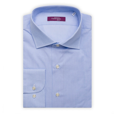 SARTORIA PARTENOPEA Light Blue Cotton End on End Standard Cuff Dress Shirt NEW