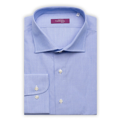 SARTORIA PARTENOPEA Solid Blue Cotton End on End Standard Cuff Dress Shirt NEW
