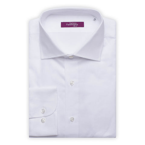 SARTORIA PARTENOPEA Solid White Cotton Dobby Standard Cuff Dress Shirt NEW