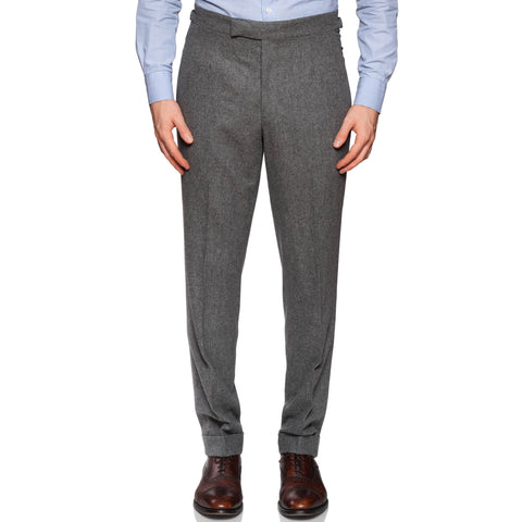 ANDERSON & SHEPPARD Gray Wool Flannel Flat Front Pants EU 50 US 34 Slim Fit