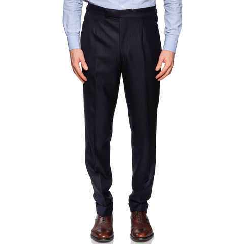 ANDERSON & SHEPPARD Navy Blue Wool Flat Front Pants EU 50 US 34 Slim Fit
