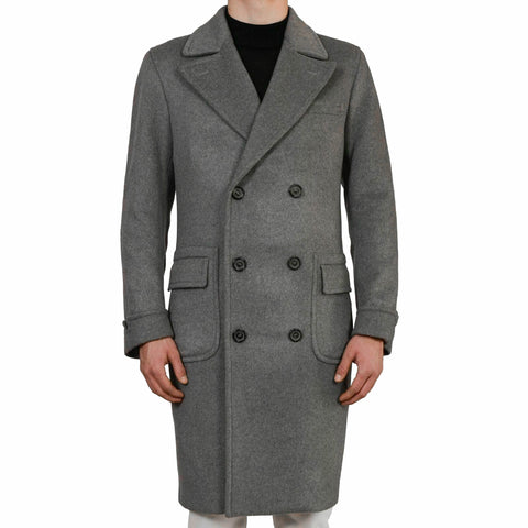 D'AVENZA Roma Handmade Gray Cashmere DB Polo Overcoat EU 50 NEW US 40-42