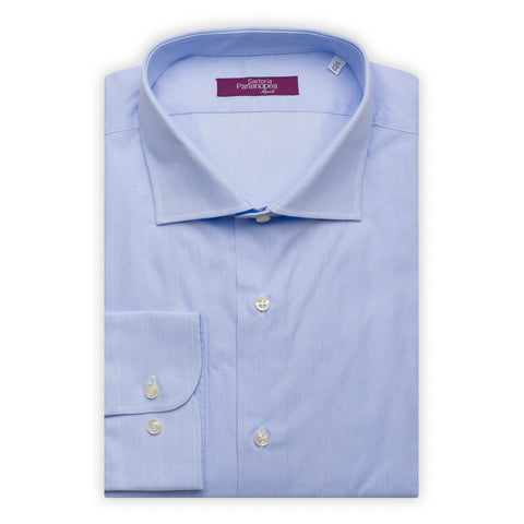 SARTORIA PARTENOPEA Light Blue Hairline Cotton Standard Cuff Dress Shirt NEW