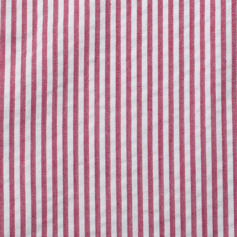 Sartoria CHIAIA Bespoke Red-White Striped Cotton Seersucker DP Pants 54 NEW US 38