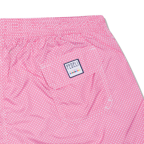 FEDELI Made in Italy Pink Geometric Madeira Airstop Swim Shorts Trunks NEW 3XL