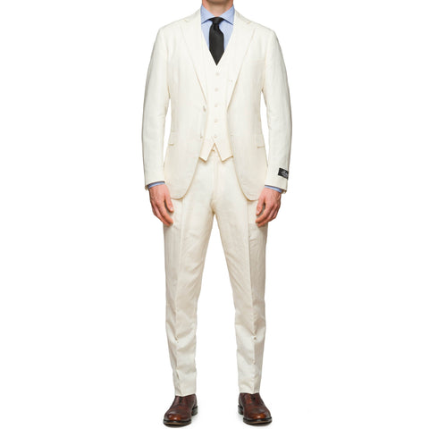 BELVEST JACKETINTHEBOX Handmade Ivory Cotton-Hemp 3 Piece Suit NEW
