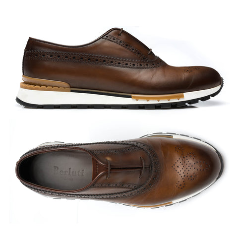 "BERLUTI ""Fast Track"" Mogano Patina Leather Brogue Sneaker Shoes UK 7.5 NEW US 8.5"